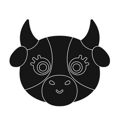 cow muzzle icon in black style isolated on white vector image vector image