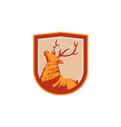 Deer stag buck head looking up retro vector