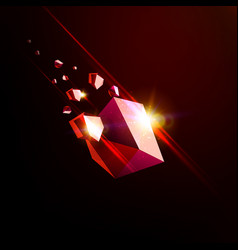 Falling beauty stone ruby space debris red vector