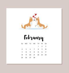 february dog 2018 year calendar vector image vector image
