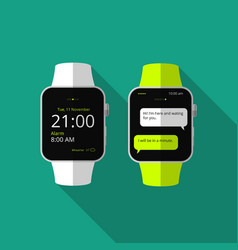 Flat smart watch with long shadow icon vector image