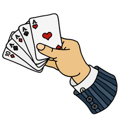 Funny poker cards in hand vector