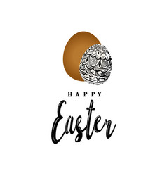 greeting card of happy easter hand eggs and vector image vector image