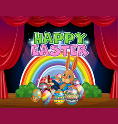 Happy easter card template with bunny and eggs vector