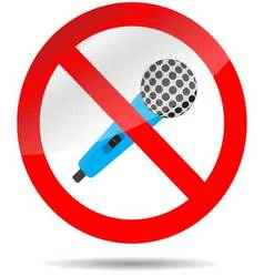 Icon ban microphone vector image