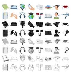 interpreter and translator set icons in cartoon vector image