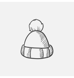Knitted hat sketch icon vector image vector image