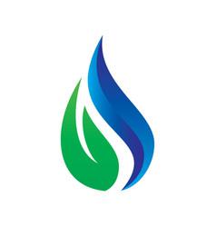 leaf water drop eco logo vector image vector image