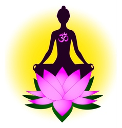 Meditating woman with om symbol and lotus vector image