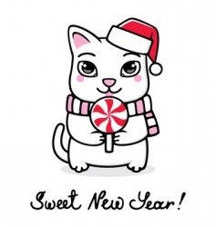 new year kitten vector image vector image