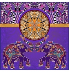 Original indian pattern with two elephants for vector
