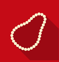 Pearl necklace icon in flat style isolated on vector