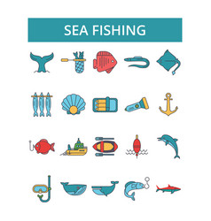 sea fishing thin line icons linear vector image vector image