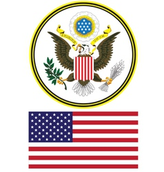seal and flag of the united states vector image vector image