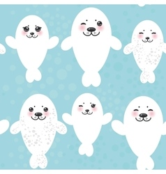 Seamless pattern Funny white fur seal pups cute vector image vector image