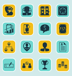 Set of 16 management icons includes successful vector