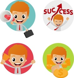 Set of funny character on business concept vector image