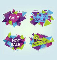 set of geometrical sale flyers isolated on vector image vector image