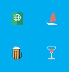 Set of simple travel icons elements wine vector