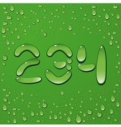 Water drop letters on green background 10 vector image