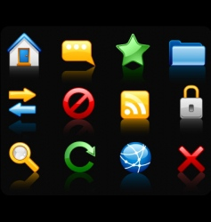 Internet black background icon set vector