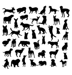 Dog set silhouettes vector
