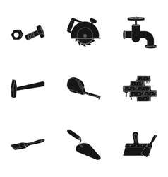 Build and repair set icons in black style big vector
