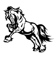 Draft horse in motion black white vector