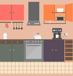 kitchen interior with furniture appliances vector image
