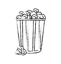 blurred silhouette image popcorn in cardboard vector image