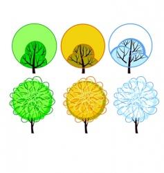 Stylized seasonal tree vector