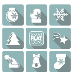 Set of flat colored simple christmas elements vector