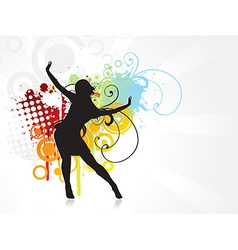 Girl dancing background vector