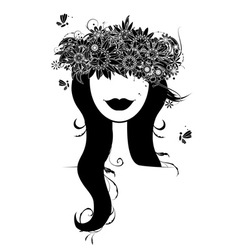 woman floral wreath vector image