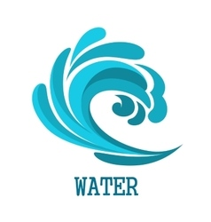 Blue curly ocean wave symbol vector image