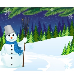 Snowman with a broom and bucket vector