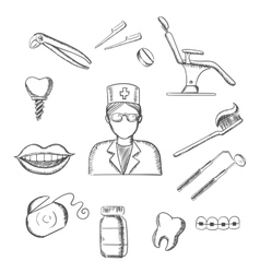 Sketch icons with dentistry and dental symbols vector