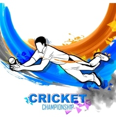 Player fielding in cricket championship vector