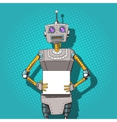 Robot with ads pop art style vector image