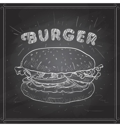 Burger scetch on a black board vector