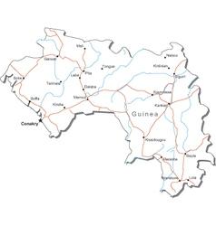 Guinea Black White Map vector image