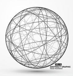 Three-dimensional sphere wireframe curve messy vector