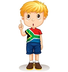 African boy pointing up vector