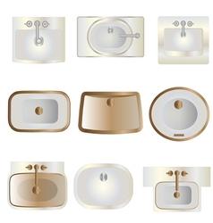 Bathroom wash basin top view set 11 for interior vector