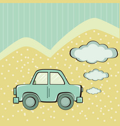 Blue car background with clouds for text vector