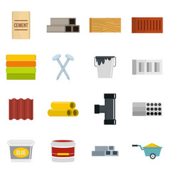 Building materials icons set in flat style vector