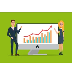 Business women and men present graphs on the in vector