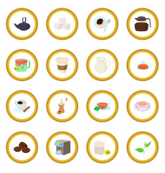 Coffee and tea icon circle vector