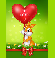 cute bunny holding red heart balloons on green gra vector image