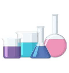 different sizes of beakers with liquid vector image